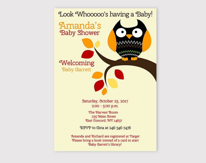 Featured listing image: Autumn Halloween Owl Baby Shower Invitations for a Boy or Girl, Customized Text Printed or Printable bs-200
