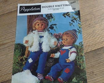 Vintage Dolls Clothes Knitting Pattern , Dolls Dungarees and Jacket Cardigan Pattern