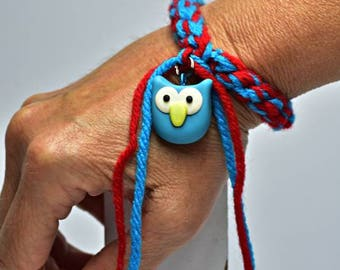 Crocheted Bracelet with Polymer Clay Owl Charm, Charm Bracelet, Owl Bracelet,Polymer Clay Owl Charm, Made to fit You, My design, Bracelet