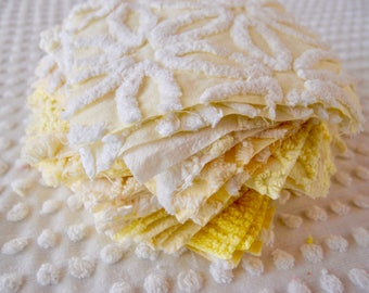 Vintage Chenille Fabric Quilt Squares - 30 - 6 inch squares, yellow, pairs - 500-277