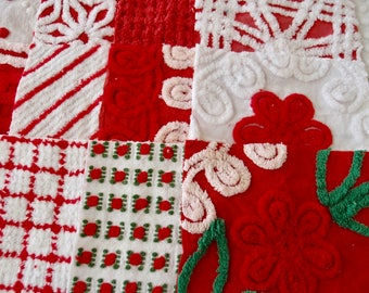 "Vintage Chenille Fabric Quilt Squares - 20 - EIGHT "" rare REDS, all different - 500-309"