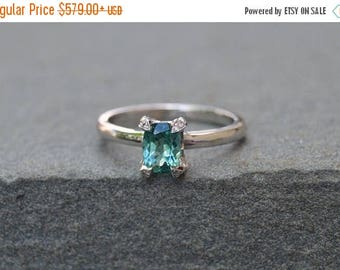 SALE White Gold Ring, Tourmaline Ring, Cushion Cut Ring, Diamond and Tourmaline Ring, Antique Style Ring, Art Deco Style Ring