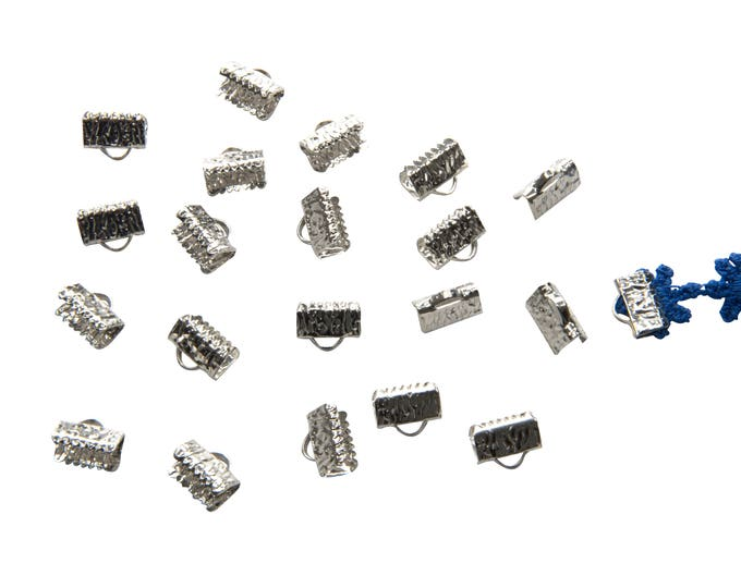 150pcs. 10mm or 3/8 inch Platinum Silver Ribbon Clamp End Crimps - with or without loop - Artisan Series