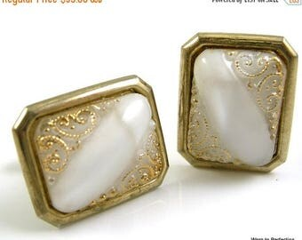 45% off Sale 1950s White Art Glass Cuff Links with Gold Glass Accents
