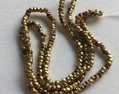 RARE - Antique Metal  Micro Cut Beads - Pale Gold Mix