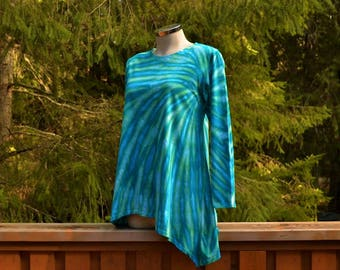 Arcadia - Tie Dye Long Sleeve Tunic Top Shirt, Hippie clothes, Festival wear, Bohemian, plus size clothing,