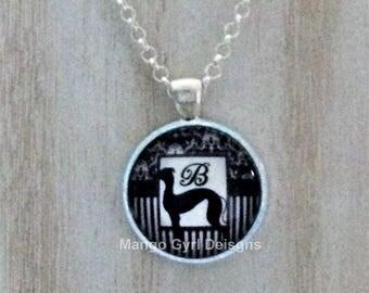 Greyhound Monogram Necklace, greyhound jewelry, greyhound black necklace, greyhound gift, greyhound gifts, greyhound monogram, greyhound