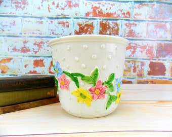 Planter, Vintage Planter, Flower Pot, Italy, Bassano Italian Planter, Ceramic, Small Planter, Flower Planter, Pottery, Italian, Retro
