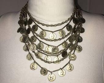 Vintage 60s Boho Hippie Multi Strand Roman Coins bib necklace