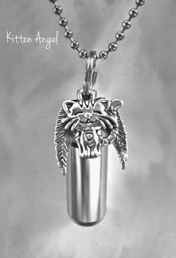 "Adorable Silver Cremation Urn & Vial with Kitten / Kitty / Cat Angel Pendant on 24"" Ball Chain Necklace - with Velvet Pouch and Fill Kit"