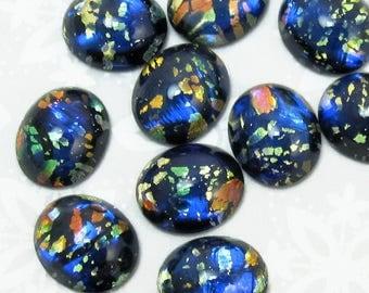 Blue Opal Cabochon Vintage Glass 8 pcs 12x10mm Fire Opal stones S-20