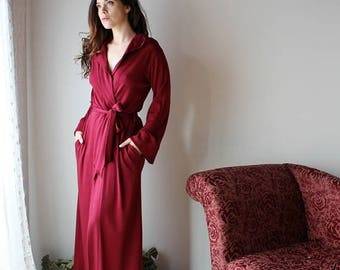 womens wool robe in full length with hood and pockets - HEARTH double knit wool range - made to order