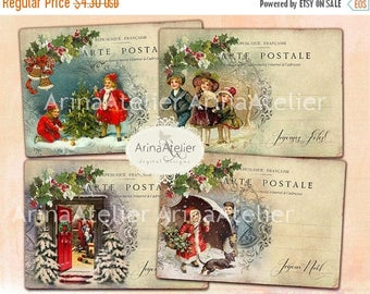 SALE 30%OFF - Digital Cards Christmas Post Cards -Digital Tags - set of 4 - 3,5x5 inches ATC cards - digital download