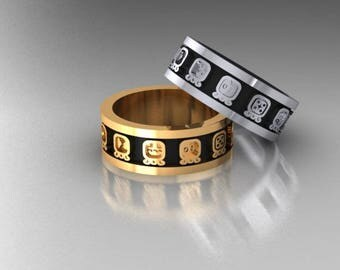 Mayan band in 14k yellow or white gold