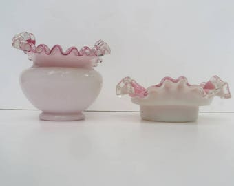 Fenton Silver Crest Pink Vase and Small Bowl Glassware