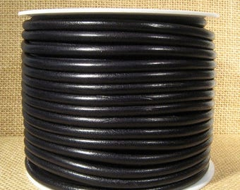 25% Off High End Portuguese 5mm Round Leather - Black - 5Rp-1 - Choose Your Length