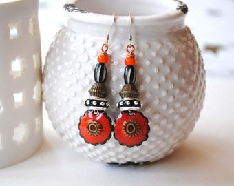 Ethnic Earrings, Tribal Orange Earrings, Artisan Enamel Earrings, Boho Chic Earrings, Bright Bold, Flower Earrings