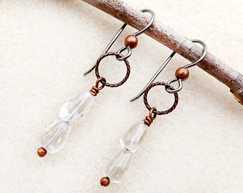 Earrings in Crystal Clear Tumbled Quartz Rain Drops, Aged Copper, Niobium Earwires, Non-allergenic, Silver, Sensitive Ears, Handmade Jewelry