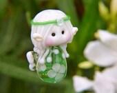 Little White Flower Garden Fairy glass bead