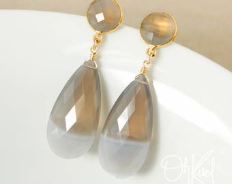 Natural Bi-Colour Agate Teardrop Earrings - Choose Your Settings