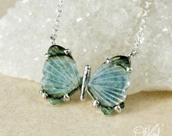Silver Blue Tourmaline Butterfly Necklace - Green Tourmaline - Natural Tourmaline Butterfly