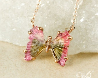 Pink and Green Tourmaline Butterfly Necklace - Watermelon Tourmaline - One of a Kind
