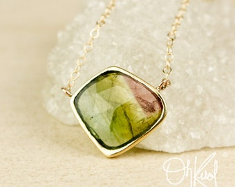 Watermelon Tourmaline Connector Necklace - Free Form Pendant - Natural Tourmaline