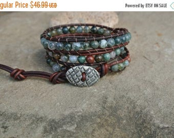 50% OFF SALE Shobah Jade Beaded Leather Wrap Bracelet