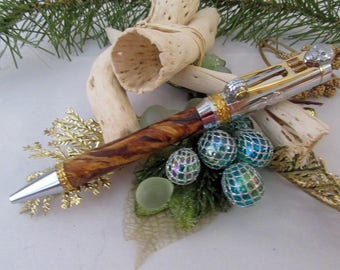 Pen / Motorcycle Ballpoint with Spalted Pecan Wood and Gold and Chrome by CraftCrazy4U