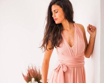 SALE Peach infinity dress, ankle length dress, ankle length infinity dress, peach dress for wedding, long peach dress, seconds clearence