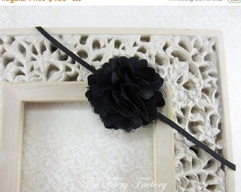 Black Flower Headband, Petite Black Satin and Tulle Flower Puff Stretchy Headband or Hair Clip - Infant Toddler Girl