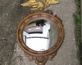 Syroco Eagle Curved Large Mirror Vintage 1960s Federalist Convex Mirror Shabby Chic Bullseye Mirror