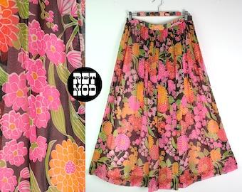 BEAUTIFUL Vintage 60s 70s Pink, Orange, Black, Green Flower Power Maxi Skirt
