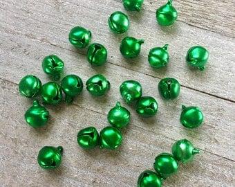 25 Green Bells Aluminum 6mm