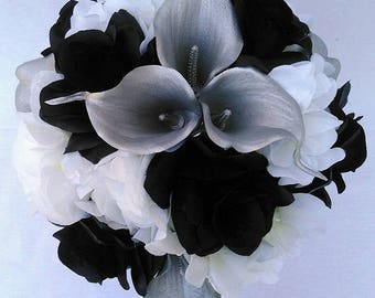 Silk Wedding Bouquet Black and White Roses, White Hydrangeas,Silver Calla Lilies Real Touch    Crystals Diamante Pins