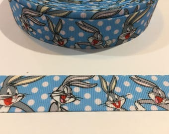 3 Yards of Ribbon - Blue Bugs Bunny 7/8 inch Wide