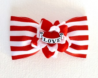 Mad About Love and Stripes Hair Bow - Red - Rose - Rockabilly - Tattoo Heart - Retro - 1950s