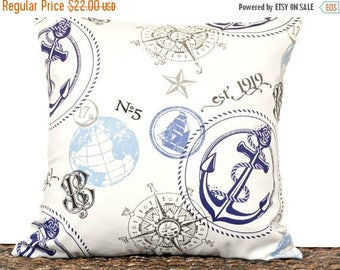 Christmas in July Sale Nautical Pillow Cover Cushion Anchor Coastal Sailboat Compass Beige Navy Blue Gray Script Summer Decorative 18x18