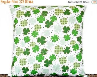 Christmas in July Sale Shamrocks Pillow Cover Cushion St. Patricks Irish Kelly Green Polka Dots Plaid White Decorative 18x18