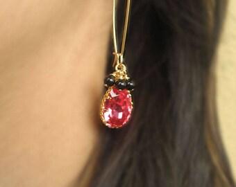 Crystal Wedding Earrings, Gold Bridal Hoop Earrings, Pink Crystal Earrings, Pink Long Earrings, Gold Filled Hoop Earrings Kidney Ear Wires