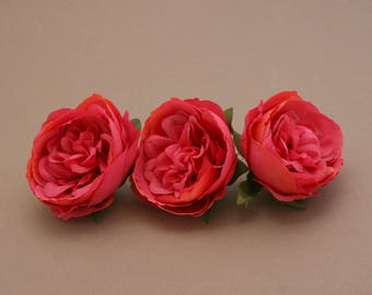 3 Small POPSICLE PINK Cabbage Peonies  - Artificial Flower Heads