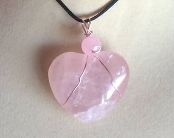 Rose Quartz Heart Valentine Pendant Wire Wrapped Necklace Jewelry