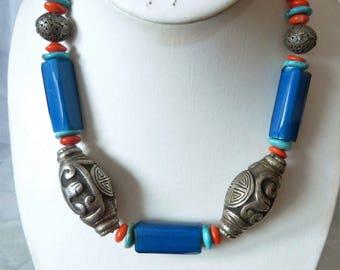 Antique Nueva Cadiz beads-antique Chinese silver beads necklace, Beadart-Austria, second generation nueva cadiz beads