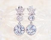 Starfish CZ Earrings, Bridal, Crystal Wedding Earrings, Bridesmaids, Cubic Zirconia Earrings, Beach Wedding Jewelry