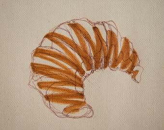 minimalist ink painting print: Croissant