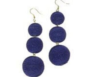 Purple 3 ball Bon Bon style earrings.