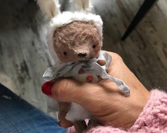 4inch Artist Handmade Miniature Pocket Sized Bunny Bear by Sasha Pokrass