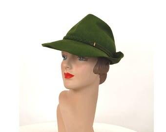 1940s fedora green wool felt tilt hat with braided band Merrimac Size 21