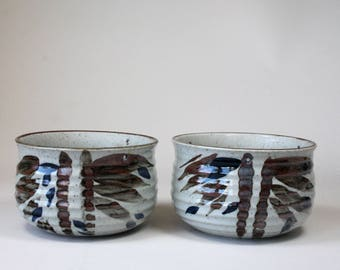 Set Vintage Ceramic Stoneware Hanging Planters Abstract Bamboo Pattern Blue Brown 1970s Made In Japan
