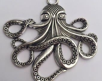 1 x Tibetan silver large octopus pendant charm